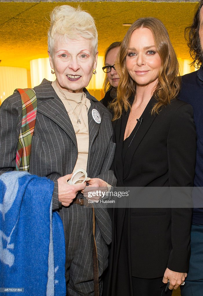 Stella McCartney (R) and Dame Vivienne Westwood attend a Stella McCartney interview with Imran Amed of The Business of Fashion on March 25, 2015 in London, England.