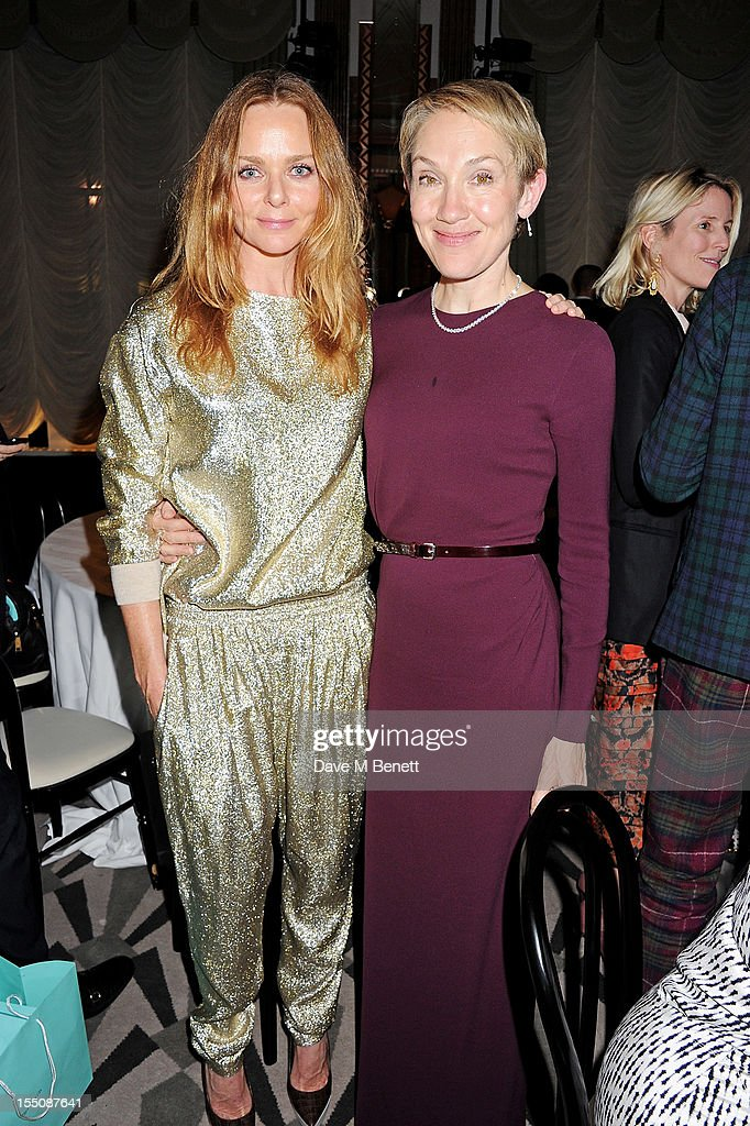 (MANDATORY CREDIT PHOTO BY DAVE M BENETT/GETTY IMAGES REQUIRED) Stella McCartney (L) and editor of Harper's Bazaar UK Justine Picardie attend the Harper's Bazaar Women of the Year Awards 2012, in association with Estee Lauder, Harrods and Tiffany & Co., at Claridge's Hotel on October 31, 2012 in London, England.