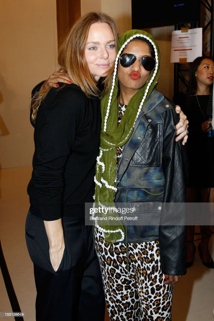 Stella McCartney and <a gi-track='captionPersonalityLinkClicked' href=/galleries/search?phrase=M.I.A.&family=editorial&specificpeople=2211092 ng-click='$event.stopPropagation()'>M.I.A.</a> pose backstage after the Stella McCartney Spring / Summer 2013 show as part of Paris Fashion Week on October 1, 2012 in Paris, France.