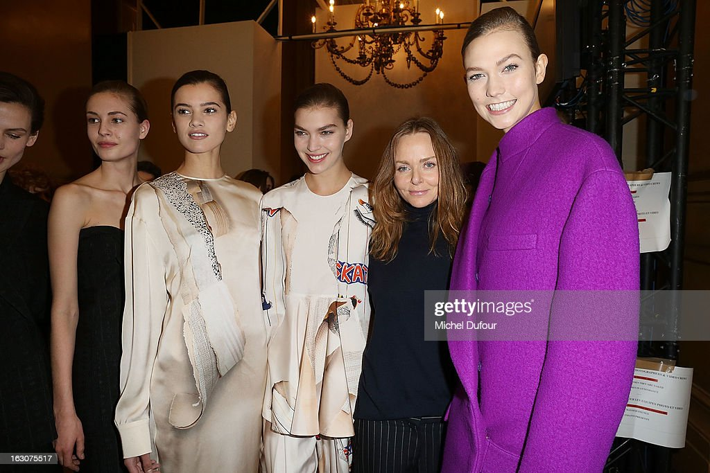 Stella McCartney and models wearing her designs pose for the camera during the Stella McCartney Fall/Winter 2013 Ready-to-Wear show as part of Paris Fashion Week on March 4, 2013 in Paris, France.