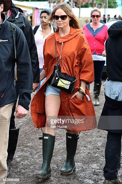 Stella McCartney attends the Glastonbury Festival at Worthy Farm Pilton on June 25 2016 in Glastonbury England