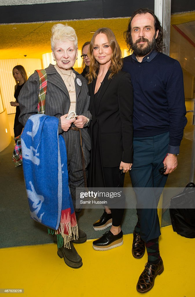 Stella McCartney (C), Dame Vivienne Westwood and Andreas Kronthaler attend a Stella McCartney interview with Imran Amed of The Business of Fashion on March 25, 2015 in London, England.