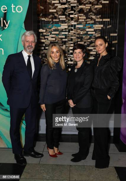 Stella McCartney Ellen MacArthur and Andrew Morlet attend the launch of the Circular Fibres Initiate Report 'Towards A New Textiles Economy' hosted...