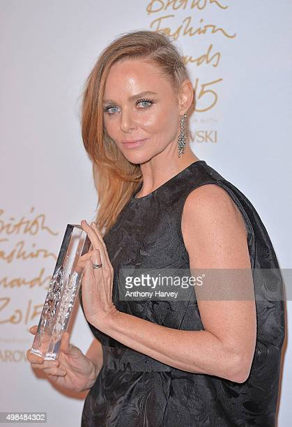 Stella McCartney poses in the Winners Room at the British Fashion Awards 2015 at London Coliseum on November 23 2015 in London England