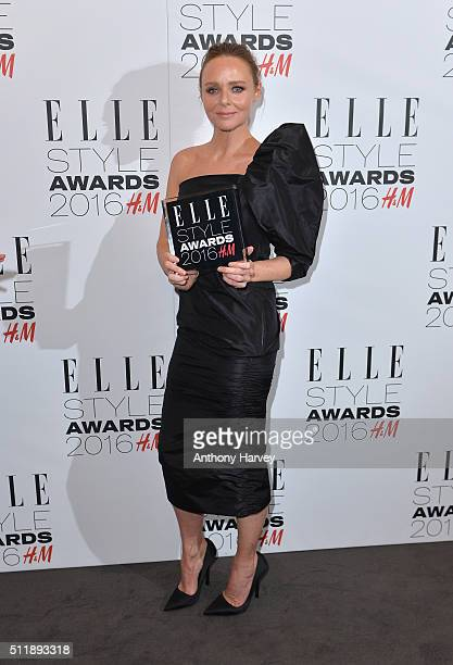 Stella McCartney poses with her award for British Brand of The Year in the winners room at The Elle Style Awards 2016 on February 23 2016 in London...