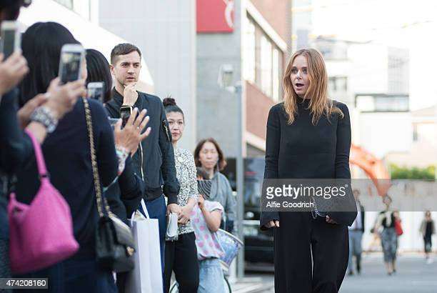 Stella McCartney reacts seeing the fans at the opening party for Stella McCartney Aoyama Store on May 21 2015 in Tokyo Japan
