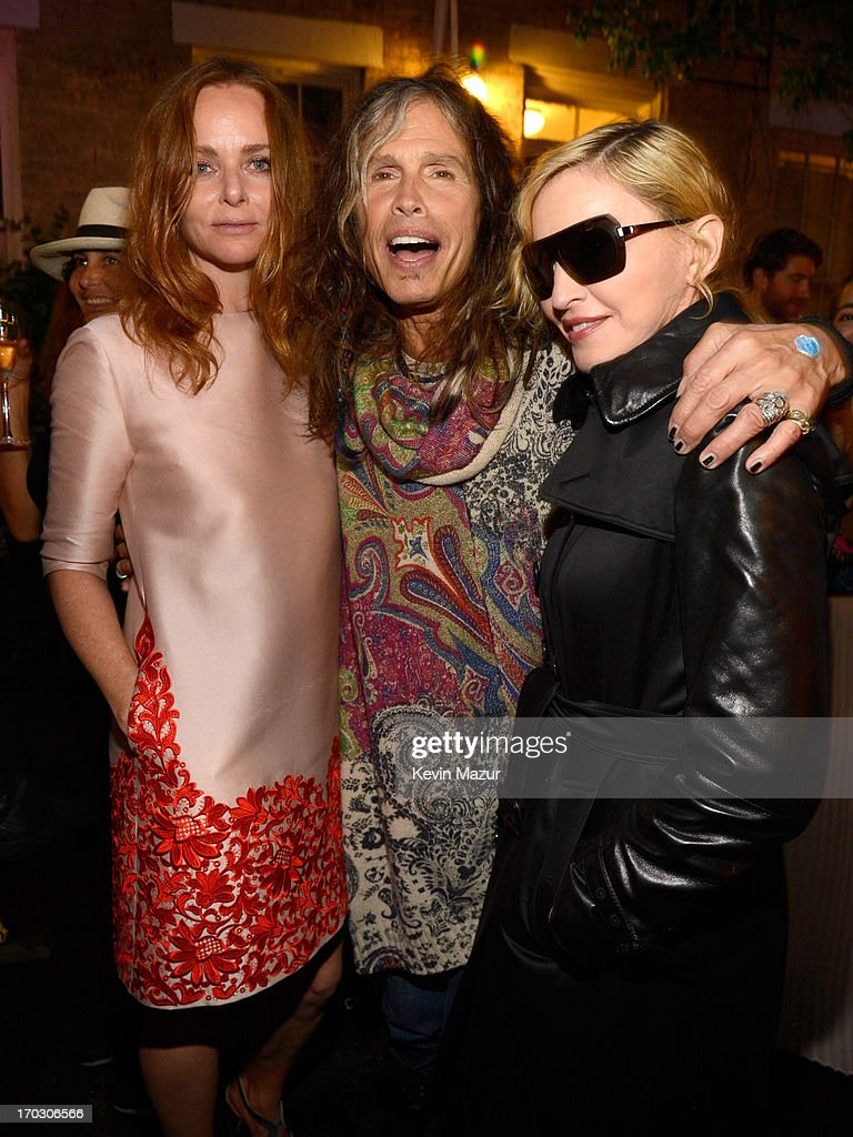 Stella McCartney, <a gi-track='captionPersonalityLinkClicked' href=/galleries/search?phrase=Steven+Tyler+-+Musician&family=editorial&specificpeople=202080 ng-click='$event.stopPropagation()'>Steven Tyler</a> and <a gi-track='captionPersonalityLinkClicked' href=/galleries/search?phrase=Madonna+-+Singer&family=editorial&specificpeople=156408 ng-click='$event.stopPropagation()'>Madonna</a> attend the Stella McCartney Spring 2014 Collection Presentation at West 10th Street on June 10, 2013 in New York City.