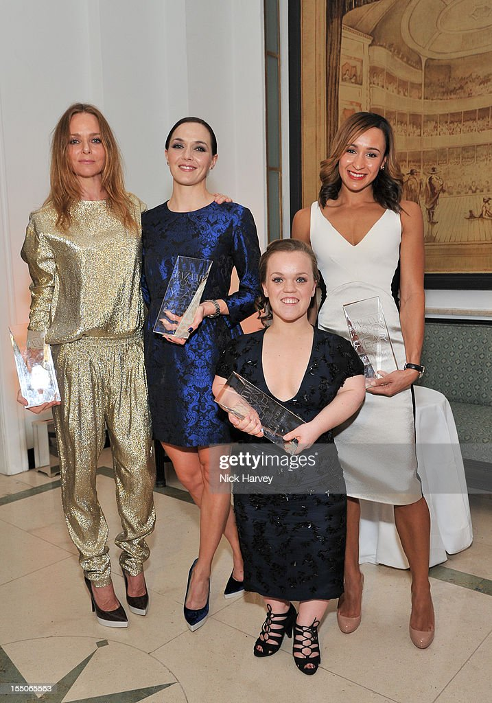 Stella McCartney, <a gi-track='captionPersonalityLinkClicked' href=/galleries/search?phrase=Victoria+Pendleton&family=editorial&specificpeople=228525 ng-click='$event.stopPropagation()'>Victoria Pendleton</a>, <a gi-track='captionPersonalityLinkClicked' href=/galleries/search?phrase=Jessica+Ennis&family=editorial&specificpeople=602482 ng-click='$event.stopPropagation()'>Jessica Ennis</a> and Ellie Simmonds attend the Harper's Bazaar Woman of the Year Awards at Claridge's Hotel on October 31, 2012 in London, England.
