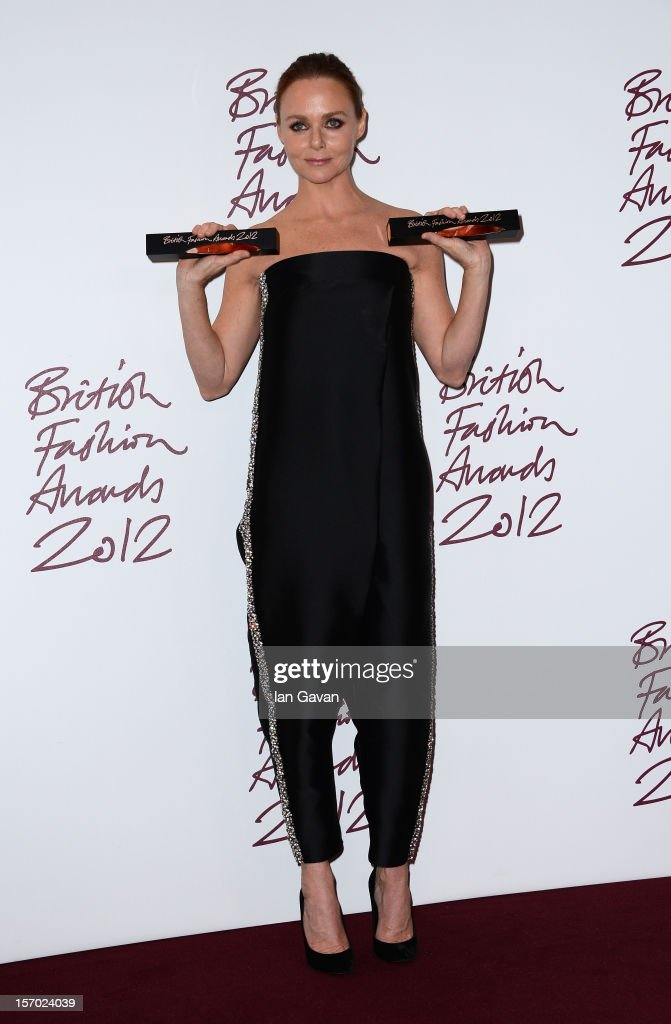 Stella McCartney , winner of Designer of the Year poses in the awards room at the British Fashion Awards 2012 at The Savoy Hotel on November 27, 2012 in London, England.