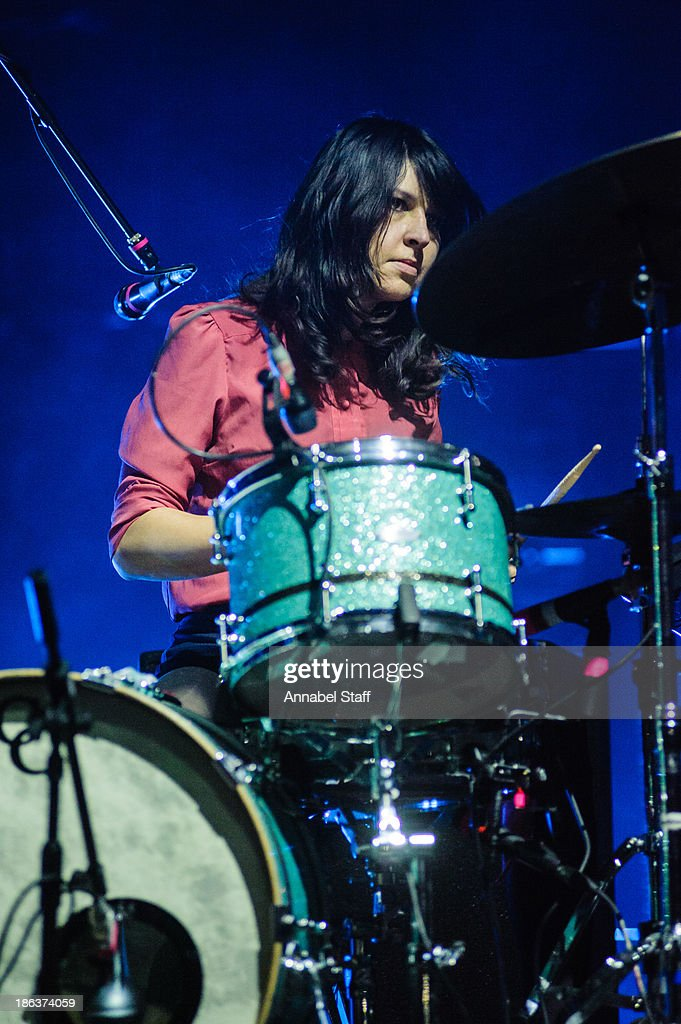 Stella Mozgawa of Warpaint performs on stage at Brixton Academy on October 30 2013 in London England
