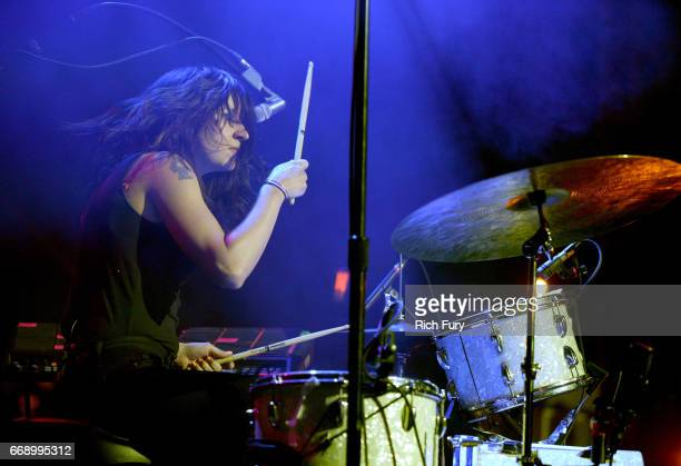 Stella Mozgawa of Warpaint performs onstage at the Gobi tent during day 2 of the Coachella Valley Music And Arts Festival at Empire Polo Club on...