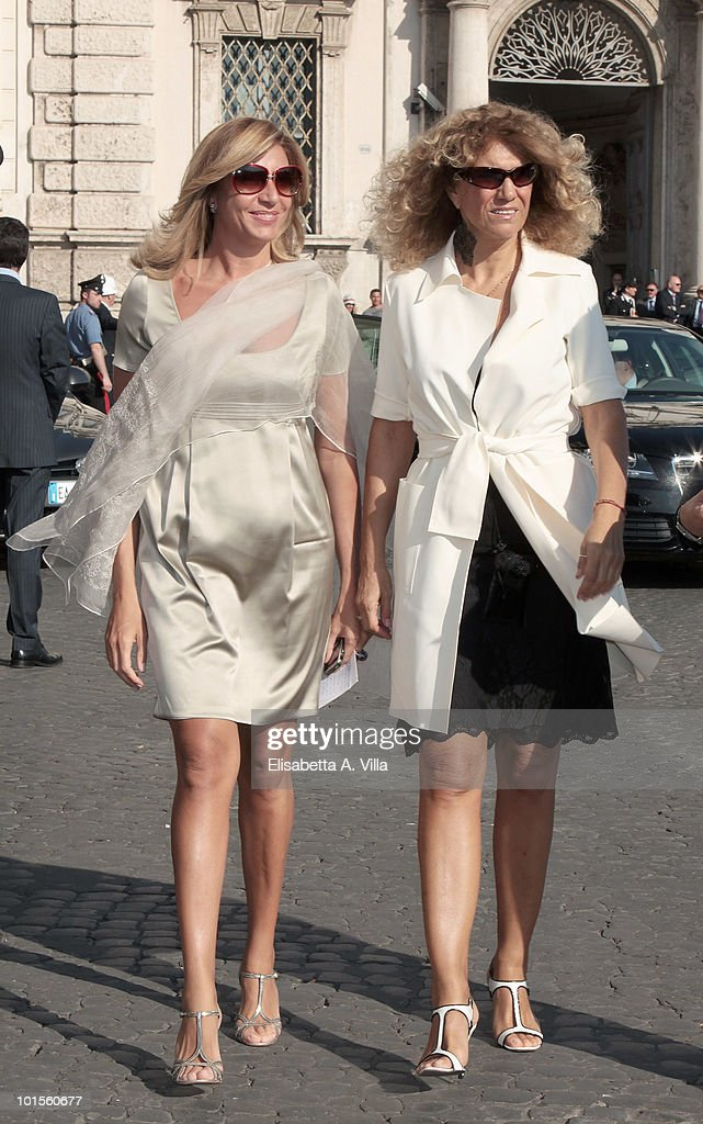 Stella Pende (R) and Myrta Merlino arrive at the Quirinale Palace to attend a Gala Dinner hosted by Italy's President Giorgio Napolitano on June 1, 2010 in Rome, Italy.