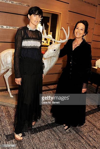 Stella Tennant and Lady Amanda Harlech attend a private view of the new CHANEL flagship boutique on New Bond Street on June 10 2013 in London England