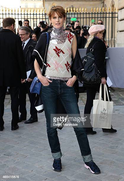 Stella Tennant attends the Christian Dior show at the Cour Carre Muse Du Louvre during Paris Fashion Week Fall Winter 2015/2016 on March 6 2015 in...