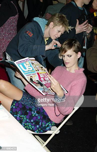 Stella Tennant backstage during Michael Kors Fall 2003 Fashion Show at Bryant Park Tents in New York NY United States