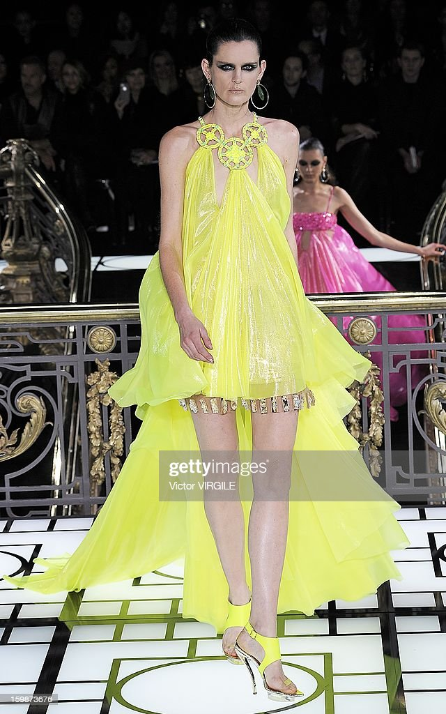 Stella Tennant walks the runway during the Atelier Versace Spring/Summer 2013 Haute-Couture show as part of Paris Fashion Week at Le Centorial on January 20, 2013 in Paris, France.