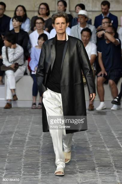 Stella Tennant walks the runway during the Berluti Menswear Spring/Summer 2018 show as part of Paris Fashion Week on June 23 2017 in Paris France