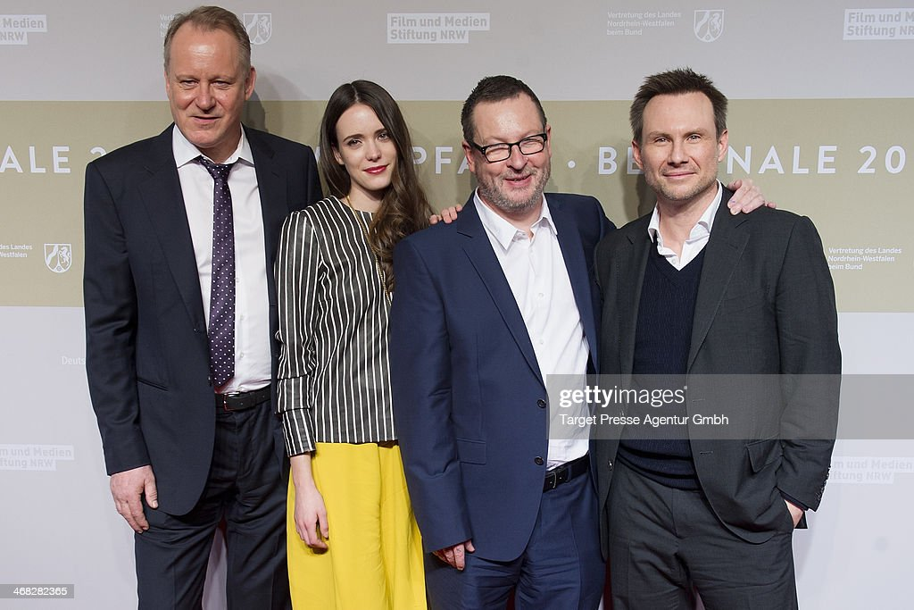 <a gi-track='captionPersonalityLinkClicked' href=/galleries/search?phrase=Stellan+Skarsgard&family=editorial&specificpeople=233516 ng-click='$event.stopPropagation()'>Stellan Skarsgard</a>, Stacy Martin, <a gi-track='captionPersonalityLinkClicked' href=/galleries/search?phrase=Lars+von+Trier&family=editorial&specificpeople=274738 ng-click='$event.stopPropagation()'>Lars von Trier</a> and <a gi-track='captionPersonalityLinkClicked' href=/galleries/search?phrase=Christian+Slater&family=editorial&specificpeople=201651 ng-click='$event.stopPropagation()'>Christian Slater</a> attend the NRW Reception at the Landesvertretung on February 9, 2014 in Berlin, Germany.