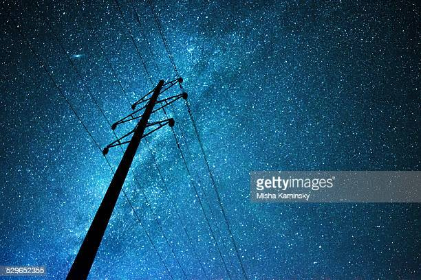 Stellar sky over the transmission line