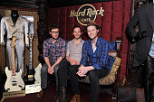 Stelth Ulvang Ben Wahamaki and Wesley Schultz of The Lumineers pose backstage before their performance at The Absolute Radio Sessions at Hard Rock...