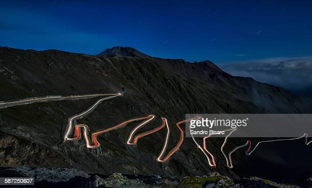 Stelvio Pass at night with traffic lights
