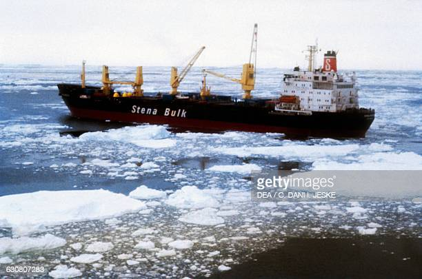 Stena Bulk merchant ship in the ice Antarctica