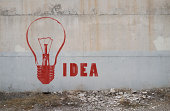 "Stencil graffiti on a concrete wall: Red colored light bulb and ""IDEA"" text."