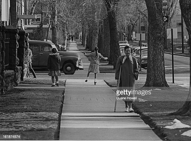 MAR 7 1965 MAR 8 1965 Step and Skate Spring was in the air Sunday for two skaters on the sidewalks at E 13th Ave and Logan St This girl shared one...
