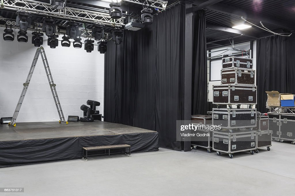 Step Ladder On Stage By Curtains At Studio : Stock Photo