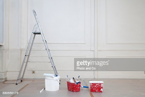 step ladder Paint roller and brush and paint can