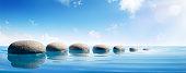 Stepping Rocks In Sea In Tranquil Scene