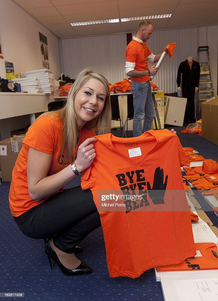 Stepahnie van oosterbosch wears t-shirt designed by DPS Company on March 11, 2013 in Roosendaal, Netherlands.