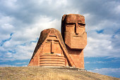 "Stepanakert / Xankandi, Nagorno Karabakh: ""We Are Our Mountains"" public park, Tatik Papik monument -  Soviet period monument  - Mamig yev Babig; Grandma and Grandpa - Republic of Mountainous Karabakh"