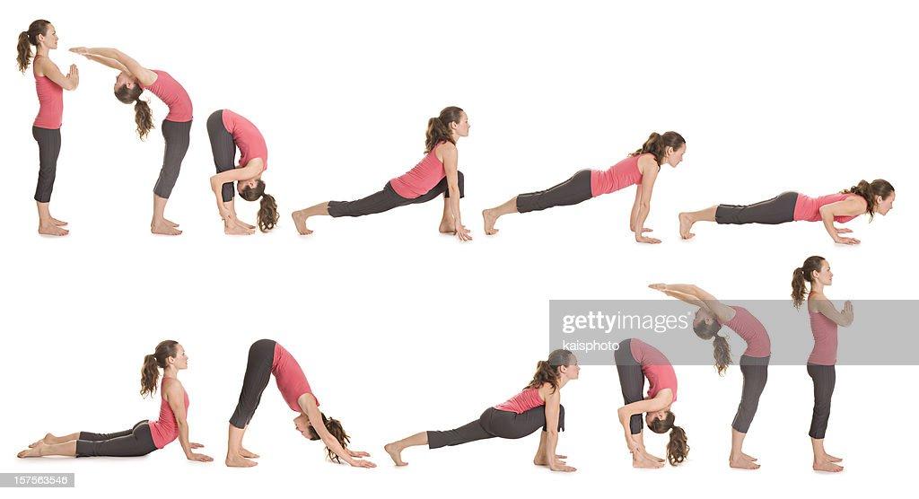 Step-by-step illustration of the sun salutation yoga pose