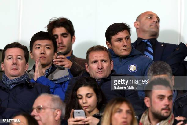 Stepen Zhang and Xavier Zanetti of FC Internazionale during the Serie A match between ACF Fiorentina v FC Internazionale at Stadio Artemio Franchi on...