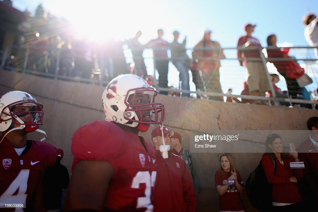 <a gi-track='captionPersonalityLinkClicked' href=/galleries/search?phrase=Stepfan+Taylor&family=editorial&specificpeople=6523004 ng-click='$event.stopPropagation()'>Stepfan Taylor</a> #33 of the Stanford Cardinal waits to run on to the field for his final game at Stanford Stadium on November 10, 2012 in Stanford, California.