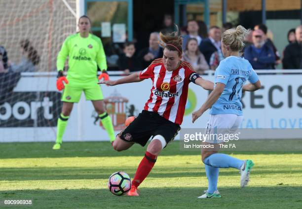 Steph Bannon of Sunderland during the FA WSL Spring Series match between Sunderland AFC Ladies and Manchester City Women at Hetton Centre on May 31...