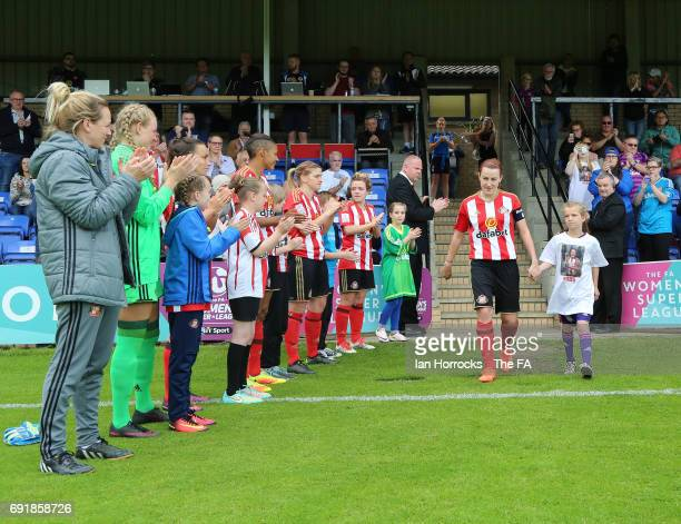 Steph Bannon of Sunderland gets a guard of honour on her last game during the WSL1 Spring Series match between Sunderland AFC Ladies and Reading FC...