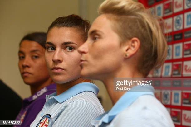 Steph Catley of Melbourne City looks on as Jessica Fishlock talks with the media during the WLeague Grand Final media opportunity at nib Stadium on...