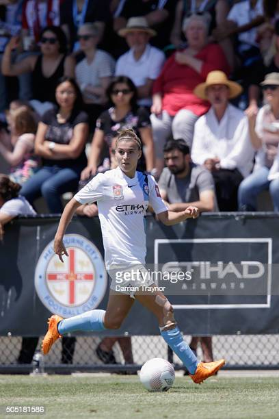 Steph Catley of Melbourne City runs with the ball during the round 14 WLeague match between Melbourne City FC and Sydney FC at CBSmith Reserve on...