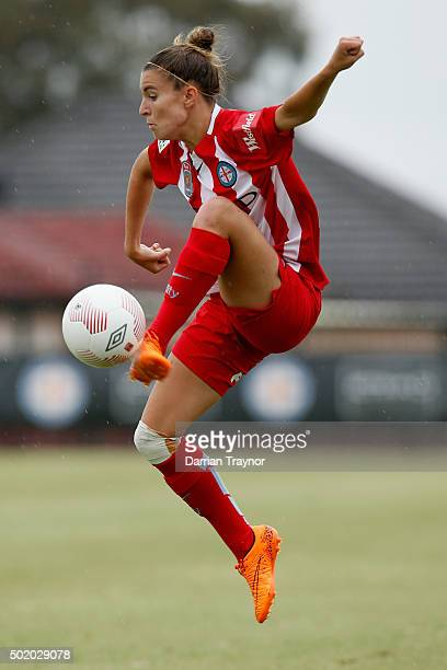 Steph Catley of Melbourne City shows her skills in the wet conditions during the round 10 WLeague match between Melbourne City FC and Perth Glory at...