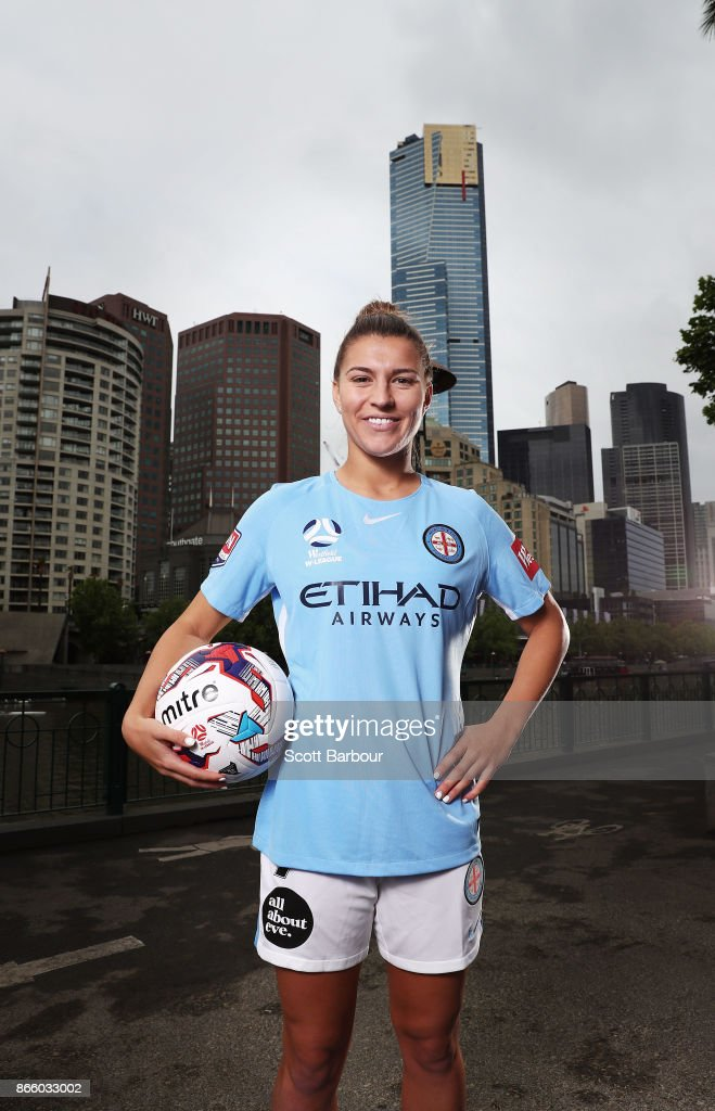 Steph Catley of Melbourne City Womens team poses during a Melbourne City W-League media opportunity at SBS Studios on October 25, 2017 in Melbourne, Australia.