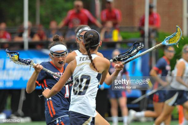 Steph Colson of Gettysburg College is defended by Allie Gorman of College of New Jersey during the Division III Women's Lacrosse Championship held at...