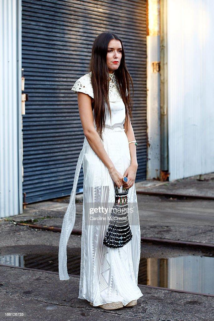 Steph Dadon ia seen at Mercedes-Benz Fashion Week Australia Spring/Summer 2013/14 at Carriageworks on April 9, 2013 in Sydney, Australia.