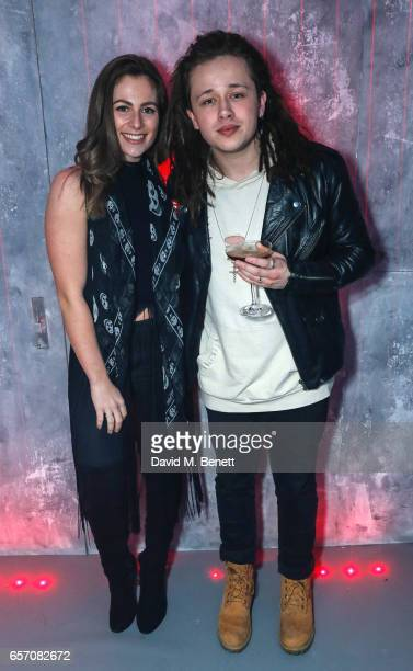 Steph Ellwood and Luke Friend attend the immersive 'Ghost In The Shell' popup presented by Paramount Pictures at Lights Of Soho on March 23 2017 in...