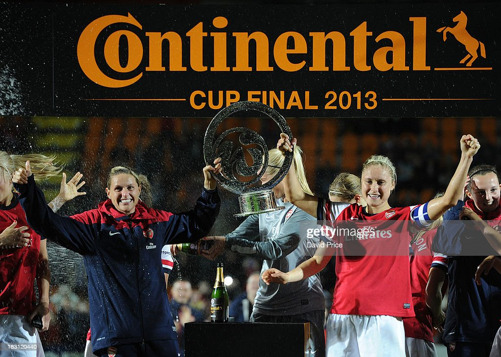 Steph Houghton and Kelly Smith of Arsenal Ladies lift the Contenental Cup after the match between Arsenal Ladies v Lincoln Ladies WSL Continental Cup...