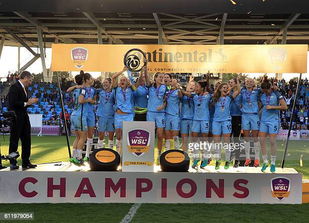 Steph Houghton captain of Manchester City Women lifts the trophy with teammate Jill Scott and celebrates after winning the Continental Cup Final...