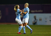 Steph Houghton Captain of Manchester City WOmen scores the opening goal during the Fatima Bint Mubarak Ladies Sports Academy Challenge between...
