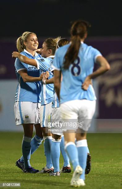 Steph Houghton Captain of Manchester City Women's FC celebrates scoring the opening goal during the Fatima Bint Mubarak Ladies Sports Academy...