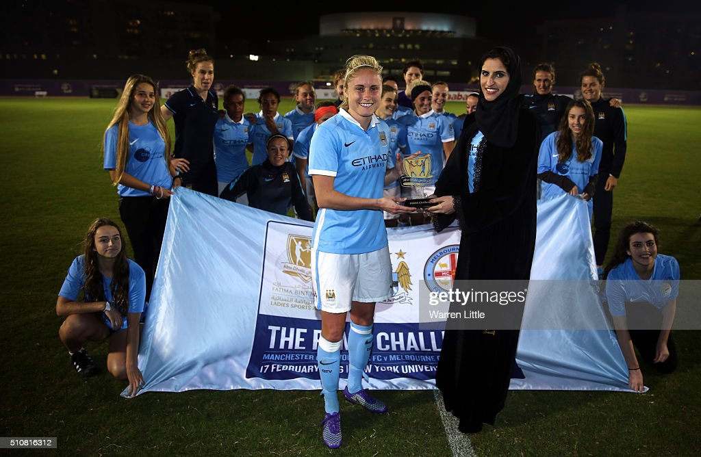 Steph Houghton Captain of Manchester City Women's FC team is awarded the trophy after winning the Fatima Bint Mubarak Ladies Sports Academy Challenge...